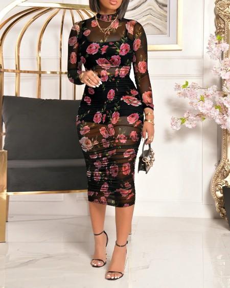 Floral Print Mesh Ruched Midi Bodycon Dress
