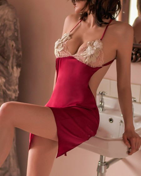 Crisscross Open Back Contrast Lace Slips With Thong