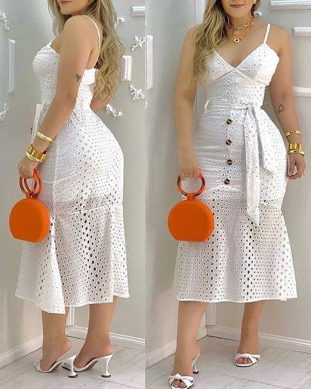 Hollow-out  Button Design Spaghetti Strap Dress With Belt & Lining