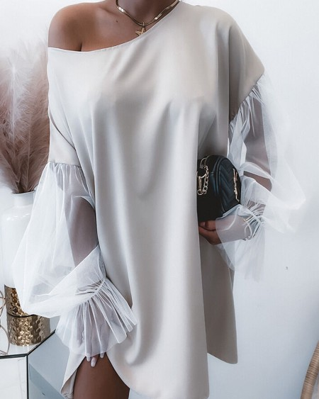 Contrast Mesh Flounce Sleeve Casual Dress