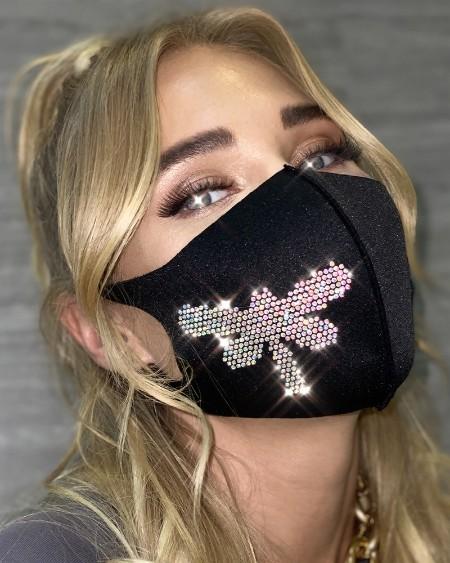Rhinestone Decor Draonfly Pattern Face Mask