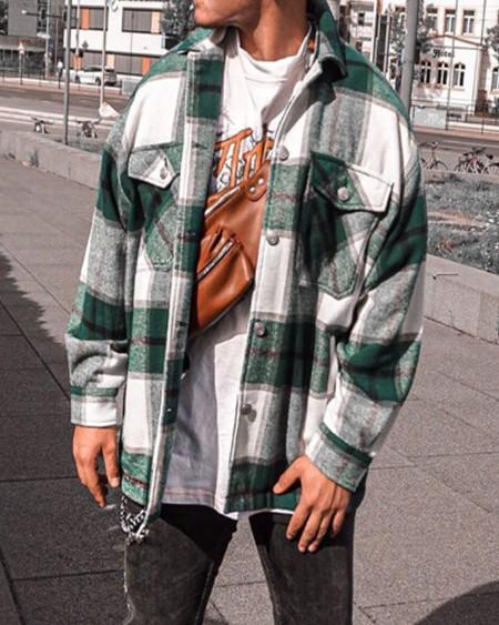 Long Sleeve Colorblock Button Pocket Jacket