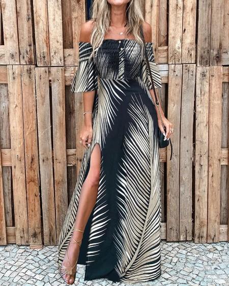 Off Shoulder Smoked Cutout Leaf Print Slit Dress