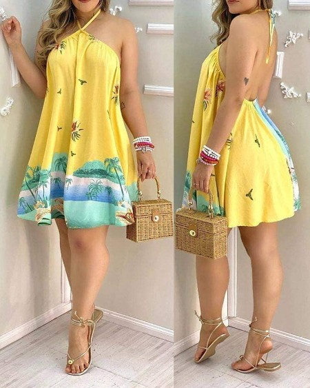 Tropical Print Halter Backless Dress