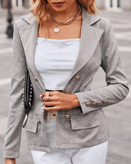 Button Pocket Decor Long Sleeve Blazer Coat