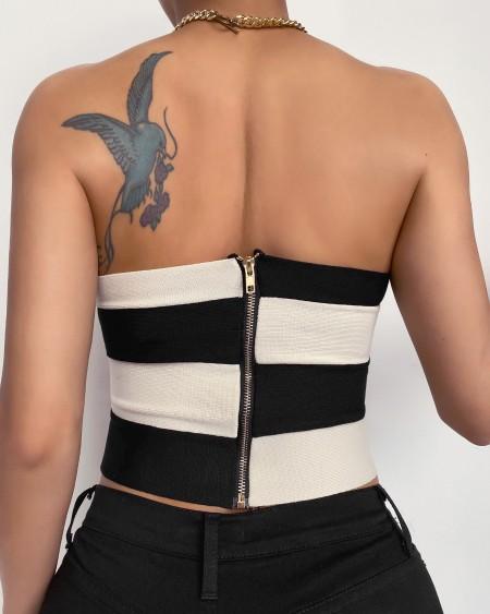 Striped Print Off Shoulder Zipper Design Crop Sleeveless Top