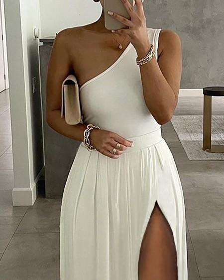 High Slit One Shoulder Maxi Dress