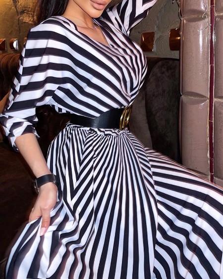 Striped Print V Neck Casual Dress