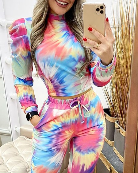 Tie Dye Print Puff Sleeve Top & Pocket Design Pants Set