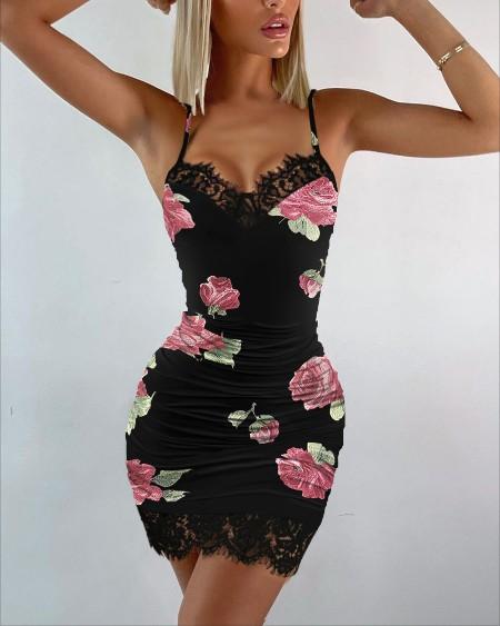 Floral Print Contrast Lace Bodycon Cami Dress