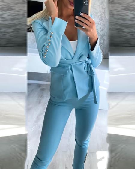 Long Sleeve Blazer Coat & Skinny High Waist Pants Set With Belt