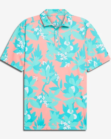 Mens All Over Print Short Sleeve Button Up Polo Shirt