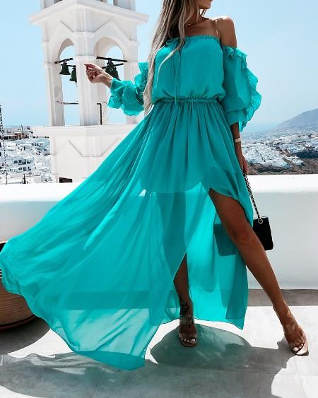 Solid Color Ruffle Hem Off Shoulder Short Sleeve Slit Maxi Dress