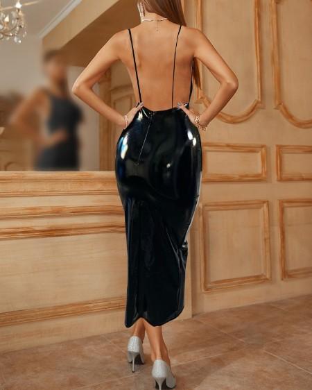 PU Leather Spaghetti Strap V Neck Backless Bodycon Dress