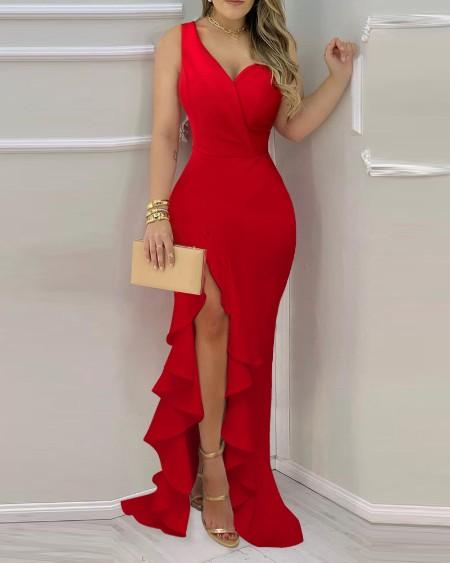 Solid Color One Shoulder Asymmetrical Ruffle Hem Split Bodycon Dress