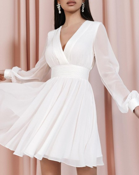 Sheer Mesh Lantern Sleeve Ruched Casual Dress