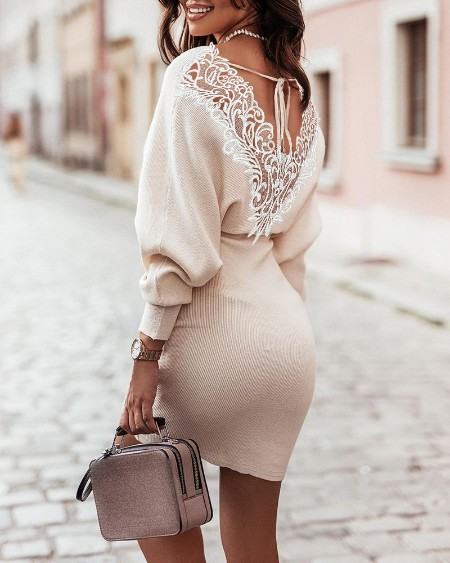 Lace Patch Lantern Sleeve Tied Detail Casual Dress