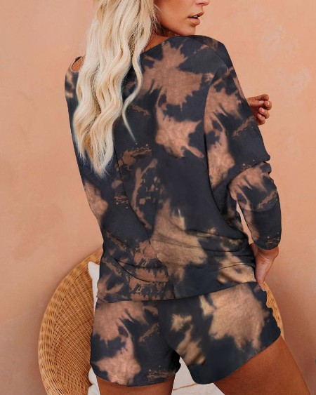 Tie Dye Print Long Sleeve Top & Drawstring Shorts Set