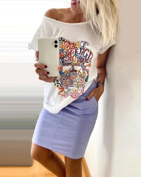 Letter Print Short Sleeve Top & Skirt Set