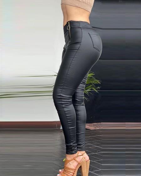 PU Leather Zipper Pocket Design Skinny Pants
