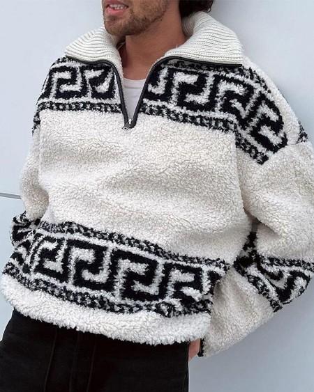Mens Graphic Print Plush Long Sleeve Sweatshirt