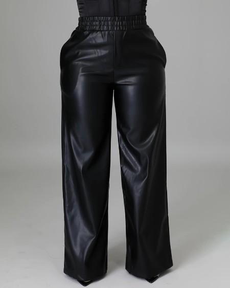 PU Leather Pocket Design Wide Leg Pants