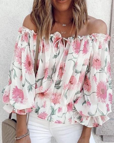Off Shoulder Floral Print Lantern Sleeve Top