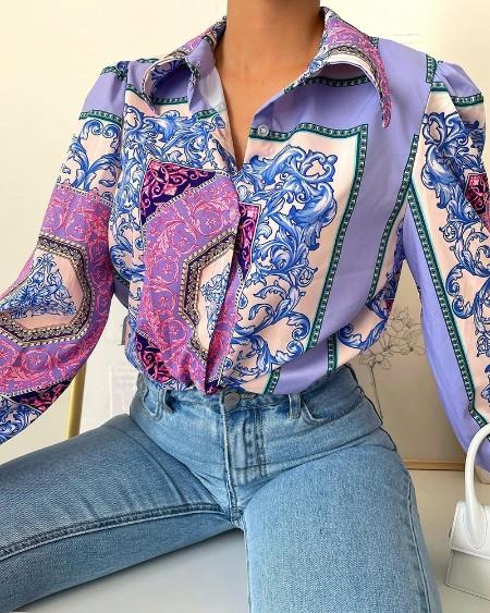 Scarf Print Long Sleeve Buttoned Shirt