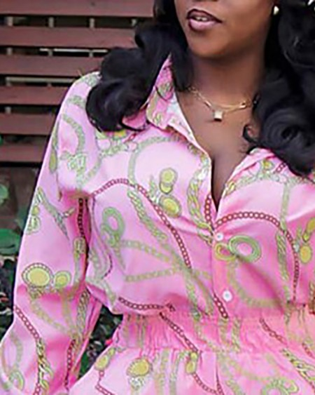 Scarf Chain Print Button Design Wide Legs Jumpsuit