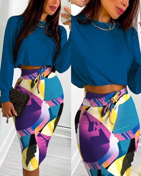 Long Sleeve Top & Abstract Print Drawstring Shirred Skirt Set