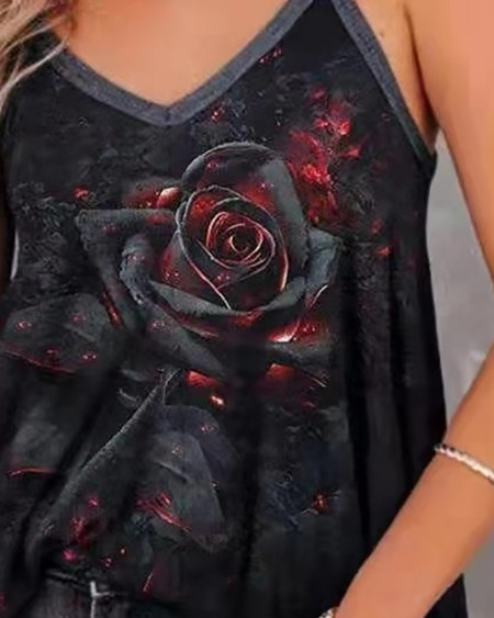 V Neck Floral Print Thick Strap Sleeveless Top