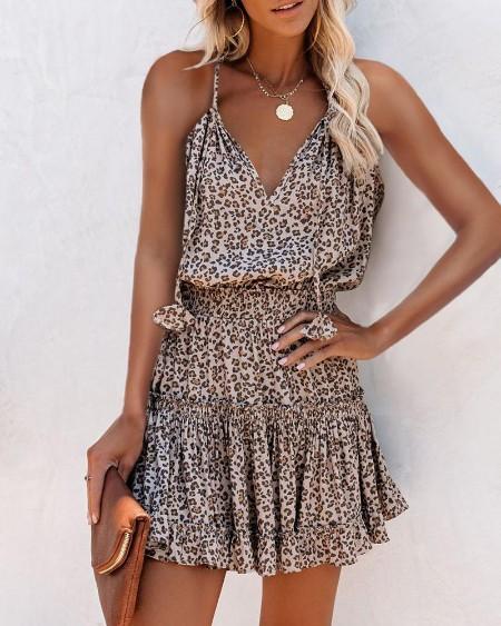 Cheetah Print Frill Hem Ruffles Ruched Dress
