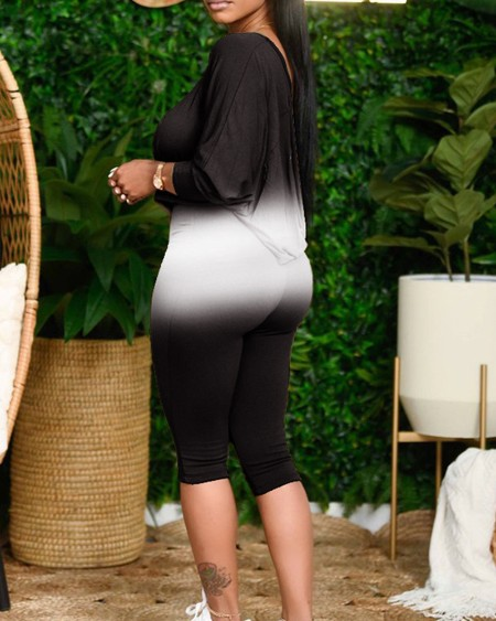 Ombre One Shoulder Top & Skinny Pants Set