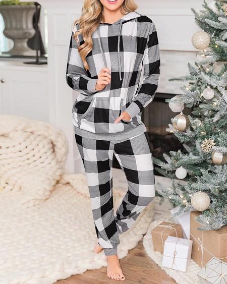 Conjunto de calças e top casual com estampa xadrez de Natal