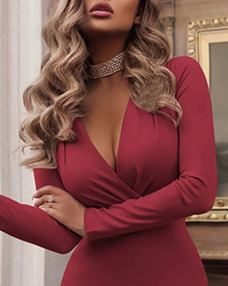 Long Sleeve Plunge Skinny Ruched Dress