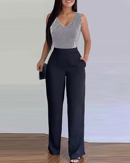 Striped Colorblock Pocket Design Jumpsuit