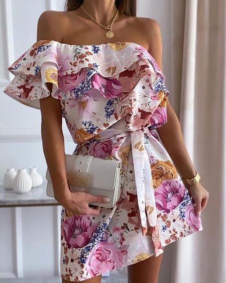 One Shoulder Ruffles Trim Floral Print Dress