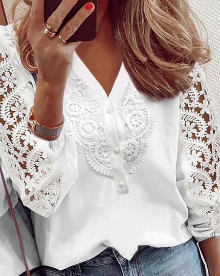 Buttoned Lace Patch Casual Top