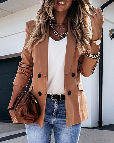 Women's Plain Long Sleeve Double Breasted Blazer Coat