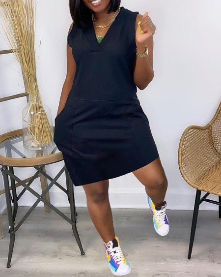 Pocket Design Sleeveless Casual Dress