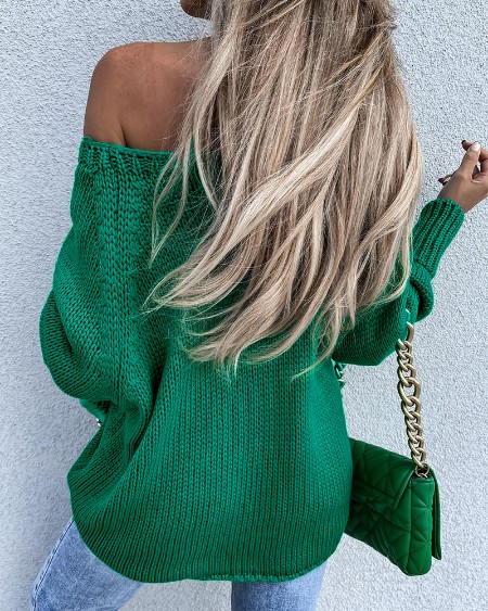 Off Shoulder Long Sleeve Casual Sweater