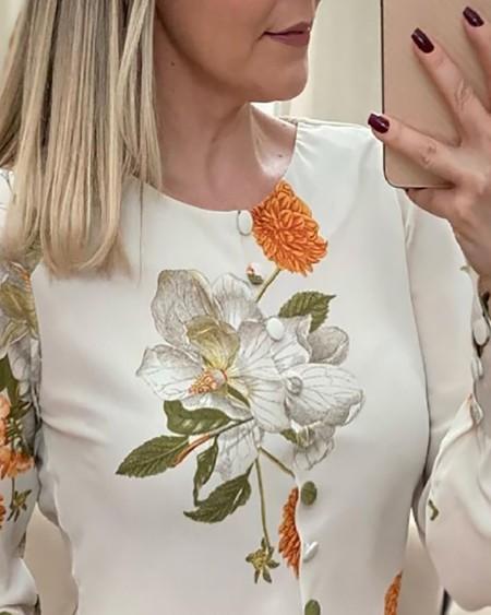 Floral Print Button Design Lantern Sleeve Top