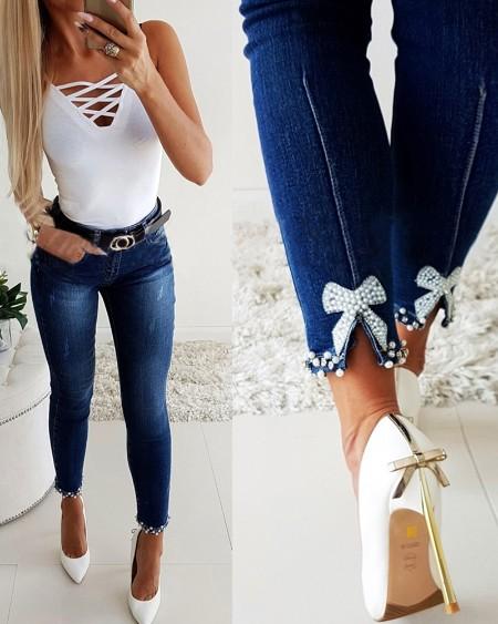 Rhinestone Bowknot Pattern Skinny Jeans