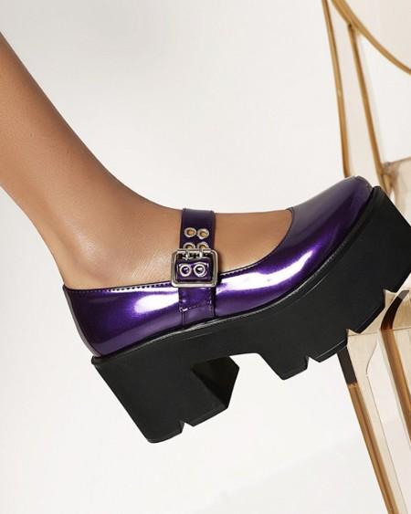Chic Ladies Single Strap Round Toe Shiny Finish Platform Shoes