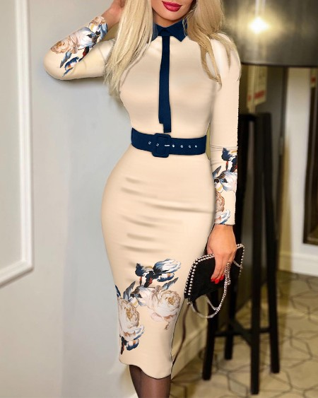 Floral Print Long Sleeve Tie Detail Work Dress With Belt