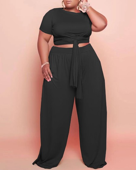 Plus Size Tied Detail Top & Wide Leg Pants Set