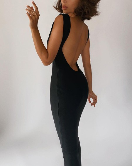 Solid Color Backless Sleeveless Slinky Maxi Dress