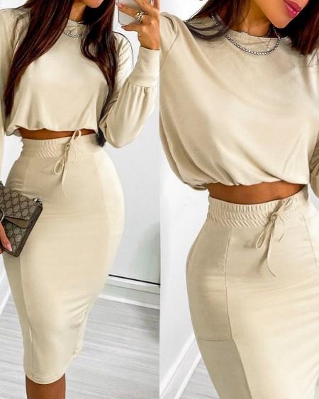 Long Sleeve Top & Drawstring Shirred Skirt Set