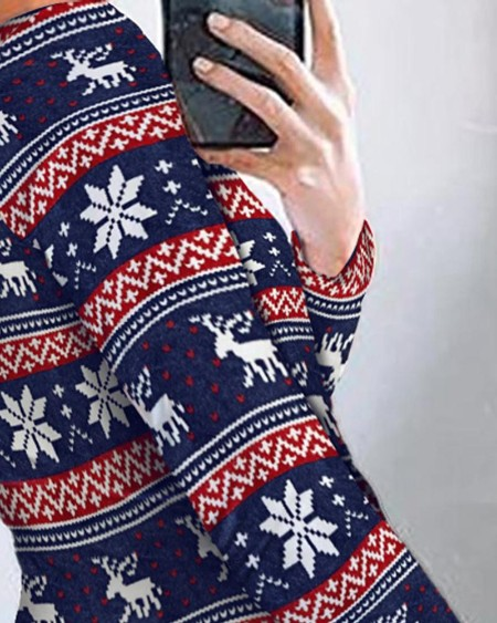 Christmas Print Long Sleeve Romper