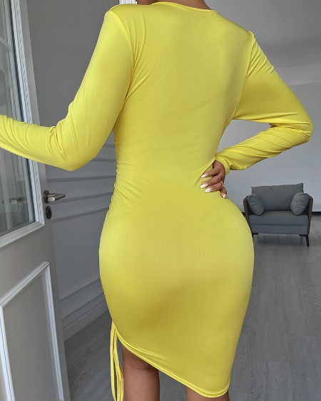 Long Sleeve Drawstring Ruched Bodycon Dress